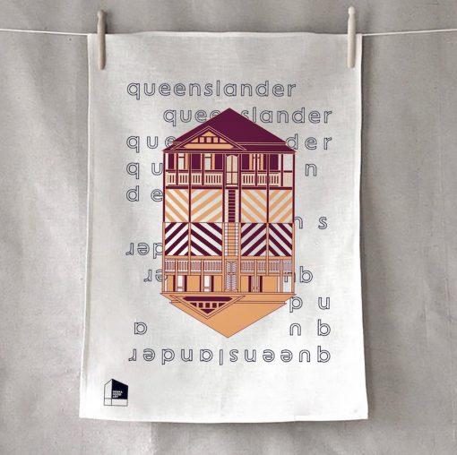 Queensland Maroon Tea Towel